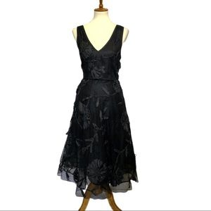Tracy Reese Black Mesh Flounced Cocktail Dress 12